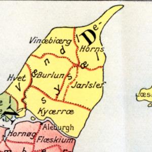 Kort over Vendsyssel med tidligere stednavne